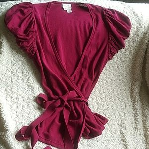 Tracy Reese Raspberry Wrap Top Size S